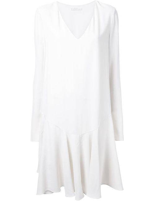 Chloe | Женское Белое Плиссированное Платье С Заниженной Талией