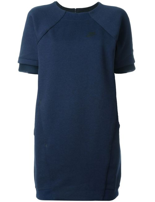 Nike | Женское Синее Платье Tech Fleece