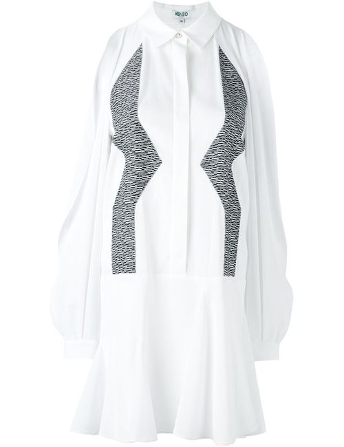 Kenzo | Женское Белое Платье-Рубашка С Зигзагообразным Узором