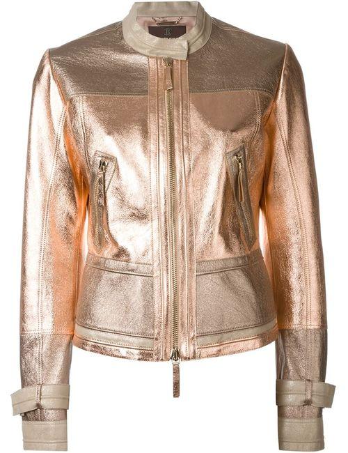 Roberto Cavalli | Женская Многоцветная Куртка На Молнии С Отделкой Металлик