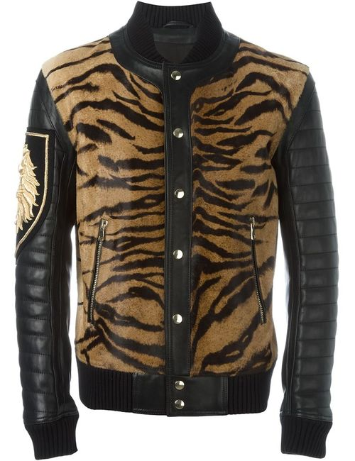 Balmain | Мужское Чёрный Tiger Chest Biker Jacket