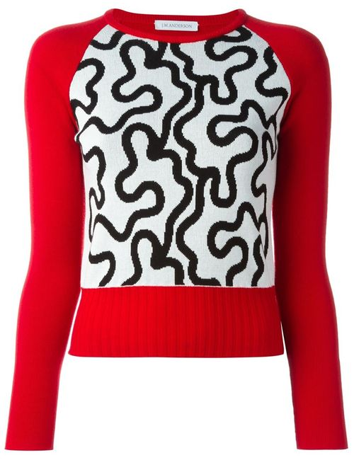 J.W. Anderson   Женское Красный Jacquard Squiggle Sweater