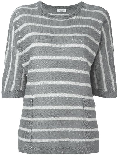 Brunello Cucinelli | Женское Серый Sequin Detail Striped Relaxed Fit Knitted Top