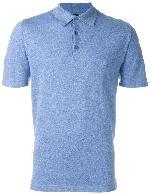 Kiton | Мужская Синяя Меланжевая Футболка-Поло
