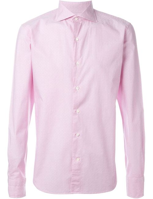 GABRIELE PASINI | Мужская Розовая Рубашка С Микро-Принтом