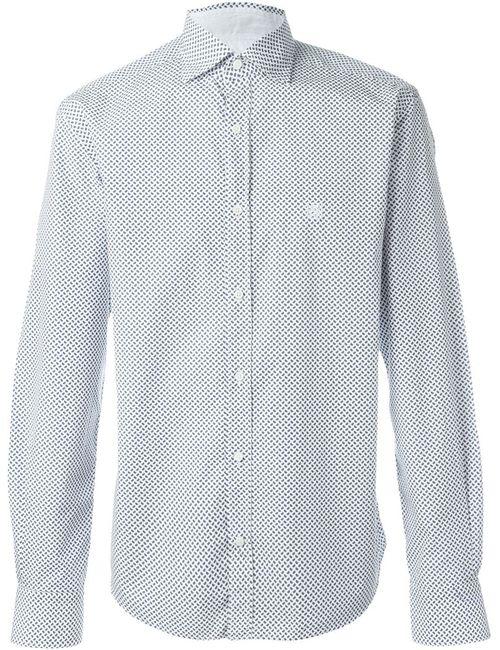 Corneliani | Мужская Белая Рубашка С Принтом