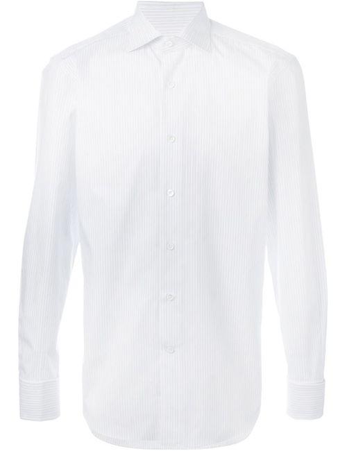 Canali | Мужская Белая Рубашка В Полоску