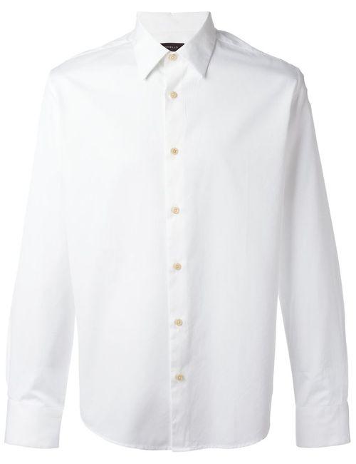 Tonello | Мужская Белая Классическая Рубашка На Пуговицах