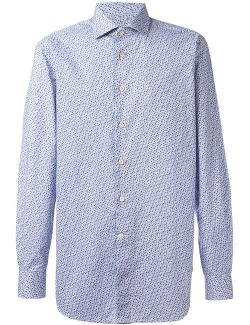 Kiton | Мужская Белая Рубашка С Мелким Узором