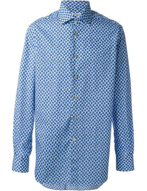 Kiton   Мужская Синяя Рубашка С Мелким Узором