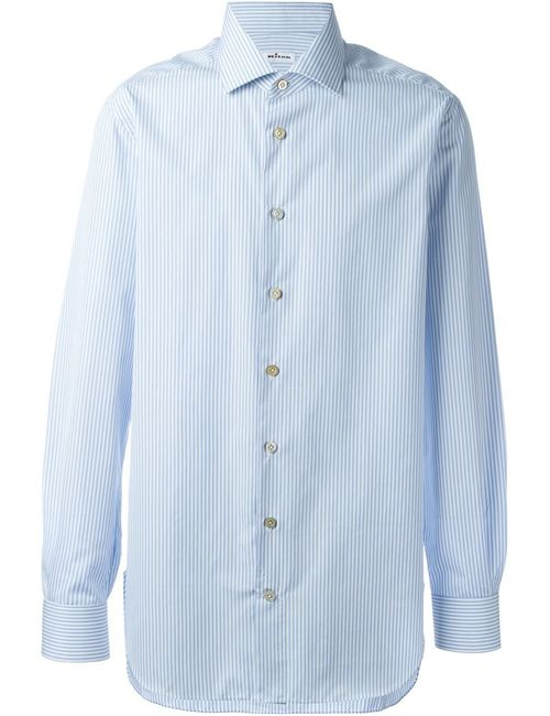 Kiton | Мужская Синяя Полосатая Рубашка На Пуговицах