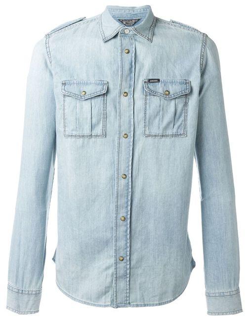 Diesel | Мужская Синяя Джинсовая Рубашка Franklin