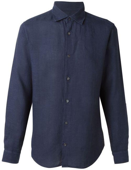 Z Zegna | Мужская Синяя Классическая Рубашка