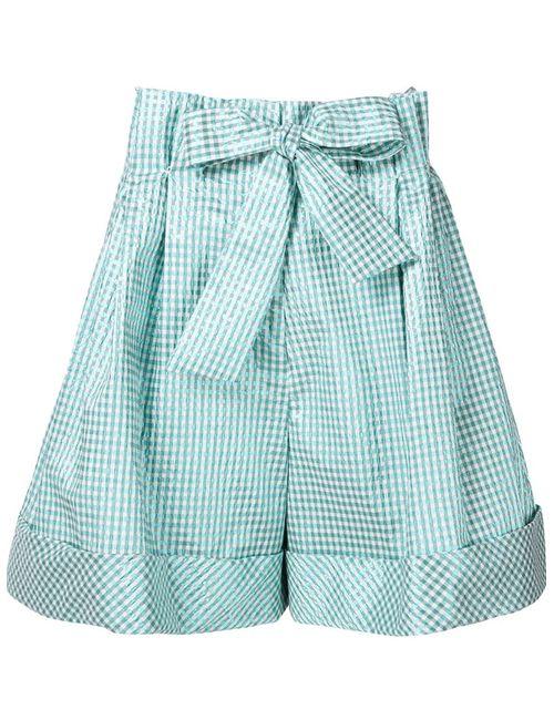 Delpozo   Женское Зелёный Check Pattern Bow Shorts