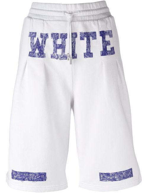 OFF-WHITE | Женские Белые Спортивные Шорты С Графическим Принтом