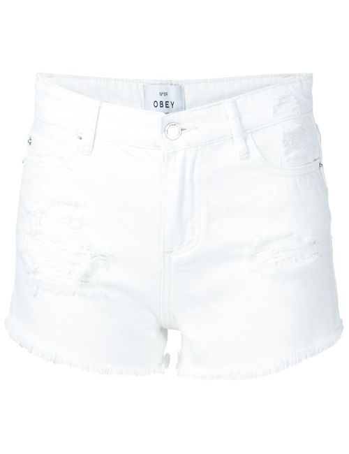 Obey | Женское Белый Distressed Denim Shorts