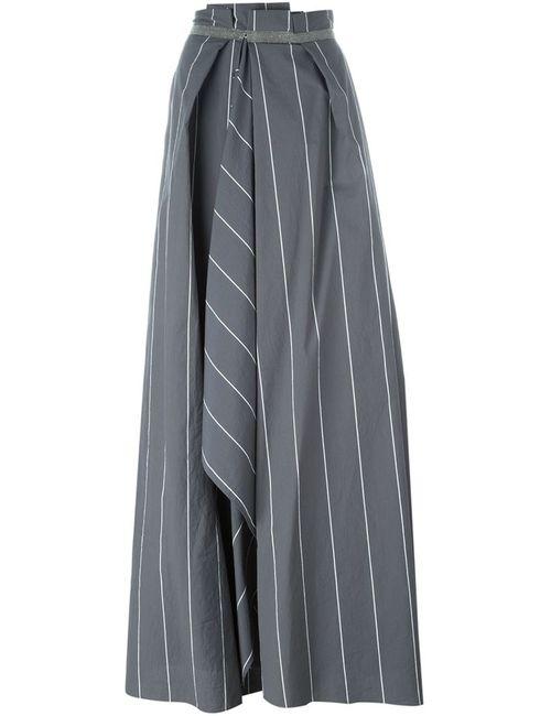 Brunello Cucinelli | Женское Серый Embellished Trim Striped Maxi Skirt
