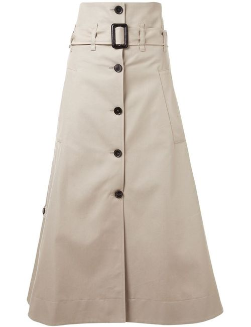 BY STEPHANIE HAHN | Женское Nude & Neutrals Contrast Button Belted A-Line Skirt