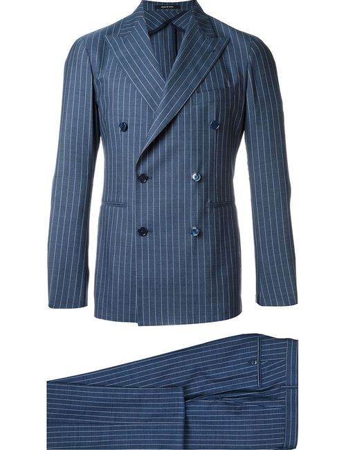 Tagliatore | Мужское Синий Pinstriped Double-Breasted Suit