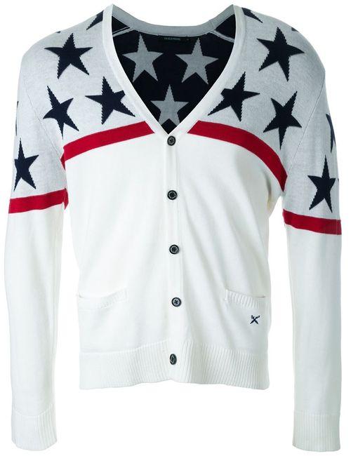 GUILD PRIME | Мужское Белый Star Pattern V-Neck Cardigan