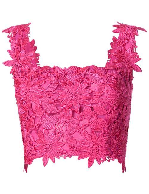 Monique Lhuillier | Женский Розовый Укороченный Топ С Цветочной Аппликацией