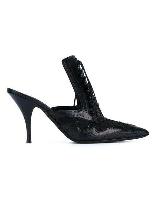 Givenchy | Женские Чёрные Мюли На Шнуровке С Элементами Брог