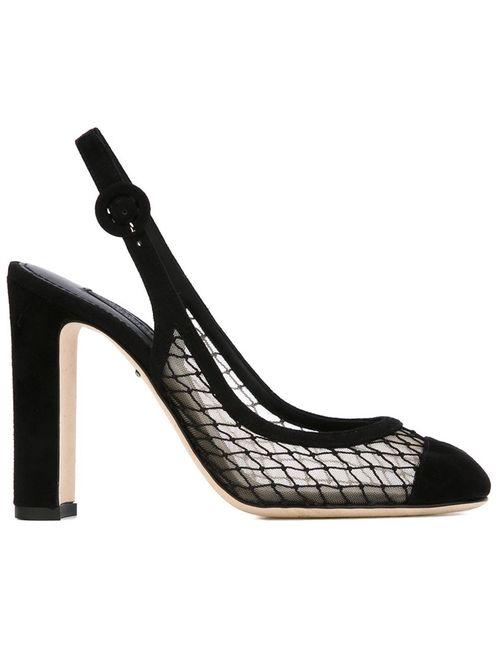 Dolce & Gabbana | Женские Чёрные Туфли С Панелями Из Тюля