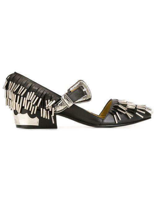 Toga | Женские Чёрные Декорированные Туфли С Бахромой
