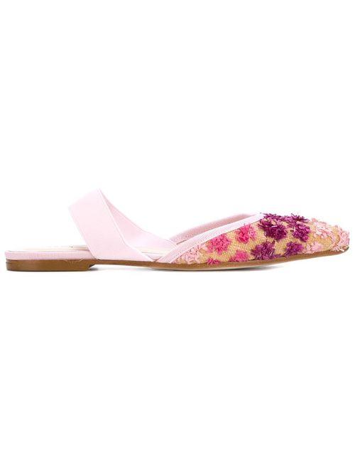 Anna Baiguera | Женские Розовые Декорированные Балетки С Открытой Пяткой