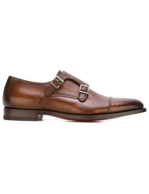 Santoni | Мужские Коричневые Туфли Монки
