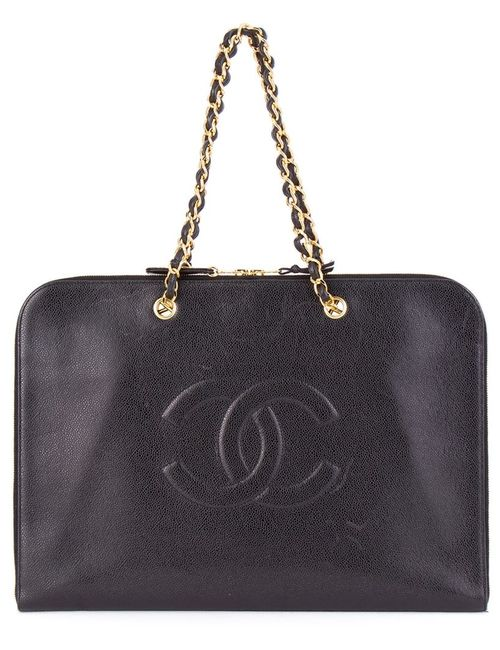 Chanel Vintage | Женский Чёрный Плоский Портфель С Логотипом