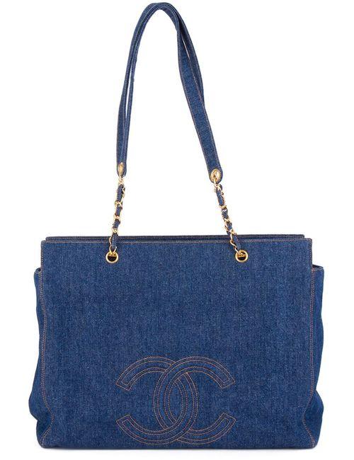 Chanel Vintage | Женская Синяя Джинсовая Сумка-Тоут Jumbo Xl