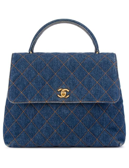 Chanel Vintage   Женская Синяя Стеганая Джинсовая Сумка-Тоут Kelly