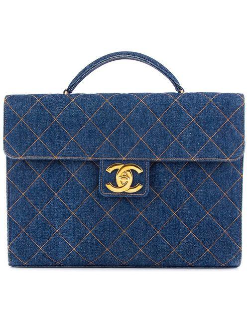 Chanel Vintage   Женский Синий Стеганый Джинсовый Портфель