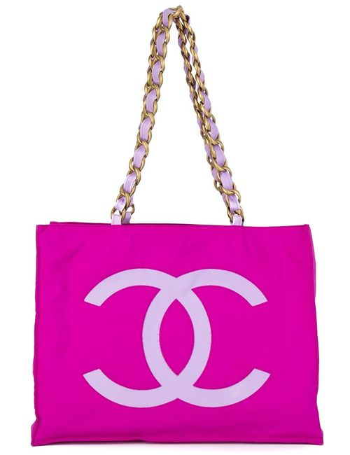 Chanel Vintage   Женская Розовая Сумка-Тоут С Логотипом