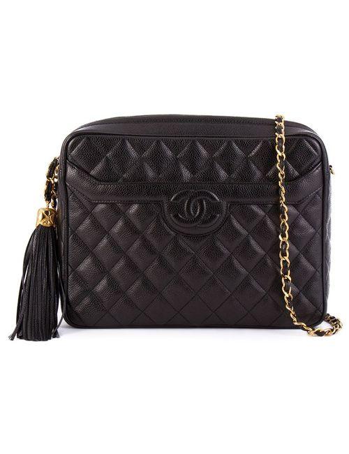 Chanel Vintage | Женская Черный Стеганая Сумка С Цепочной Лямкой