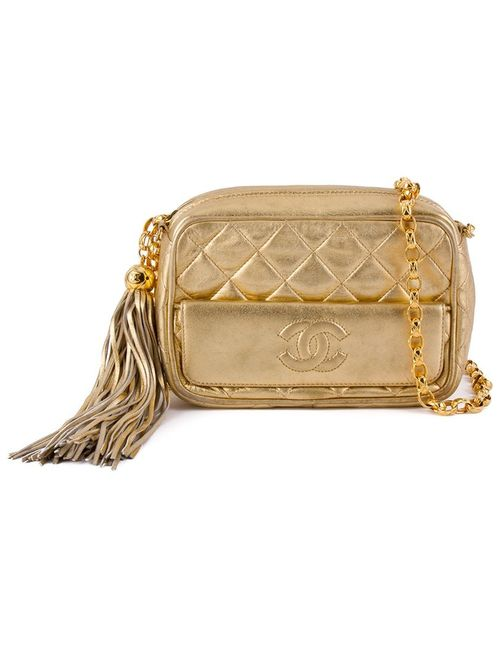 Chanel Vintage | Женская Серебристая Стеганая Сумка Через Плечо