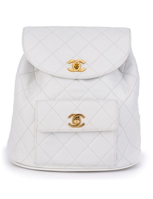 Chanel Vintage | Женский Белый Стеганый Рюкзак