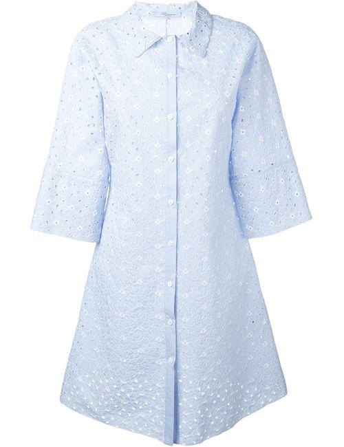 Blumarine | Женское Синее Платье-Рубашка С Цветочной Вышивкой