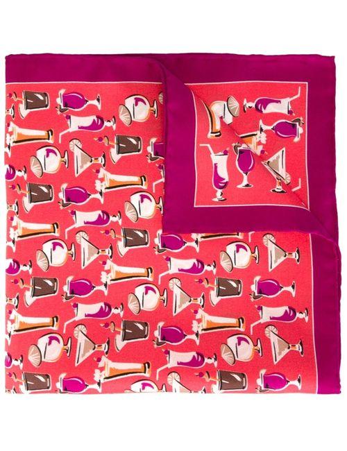 Kiton | Мужской Розовый Нагрудный Платок С Принтом Коктейлей