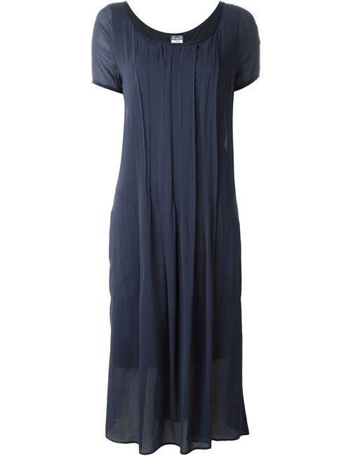 Kristensen Du Nord   Женское Синее Плиссированное Платье Средней Длины