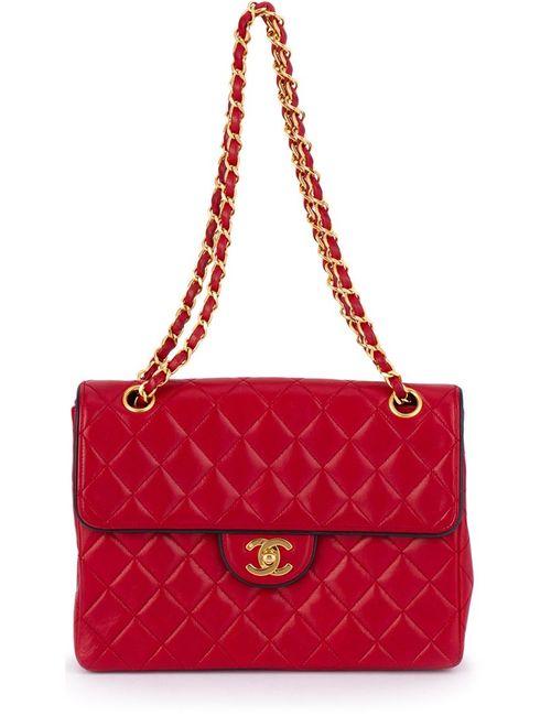 Chanel Vintage | Женская Красная Стеганая Сумка На Плечо