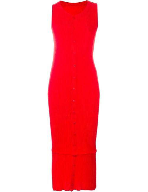ISSEY MIYAKE VINTAGE | Женское Красное Плиссированное Платье Без Рукавов