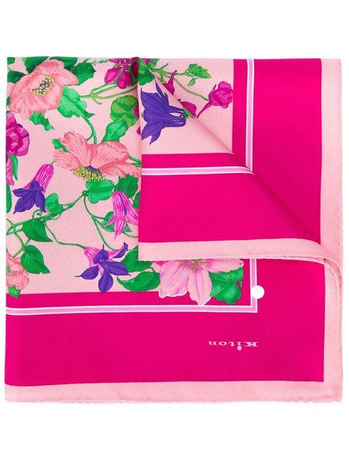 Kiton | Мужской Розовый Нагрудный Платок С Цветочным Принтом
