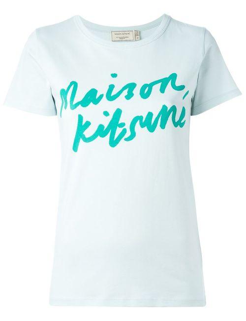 Maison Kitsune | Женская Зелёная Футболка Handwriting