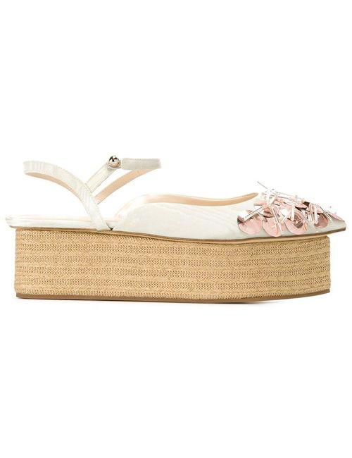Delpozo | Женское Зелёный Embroidered Platform Sandals