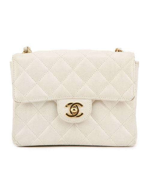 Chanel Vintage | Женская Белая Классическая Мини-Сумка С Откидным Клапаном