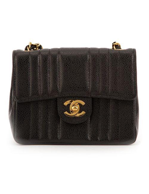 Chanel Vintage | Женская Чёрная Классическая Мини-Сумка С Вертикальной Строчкой
