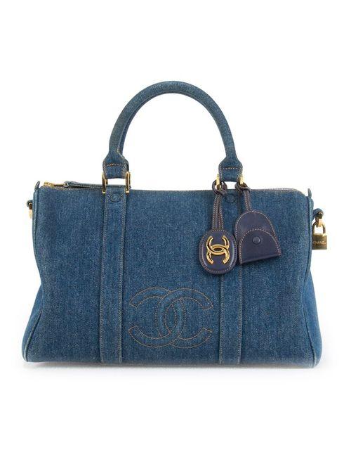 Chanel Vintage | Женская Синяя Джинсовая Бостонская Сумка