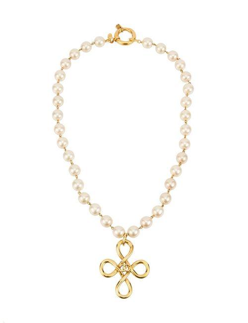 Chanel Vintage | Женское Белый Charm Cc Pearl Necklace